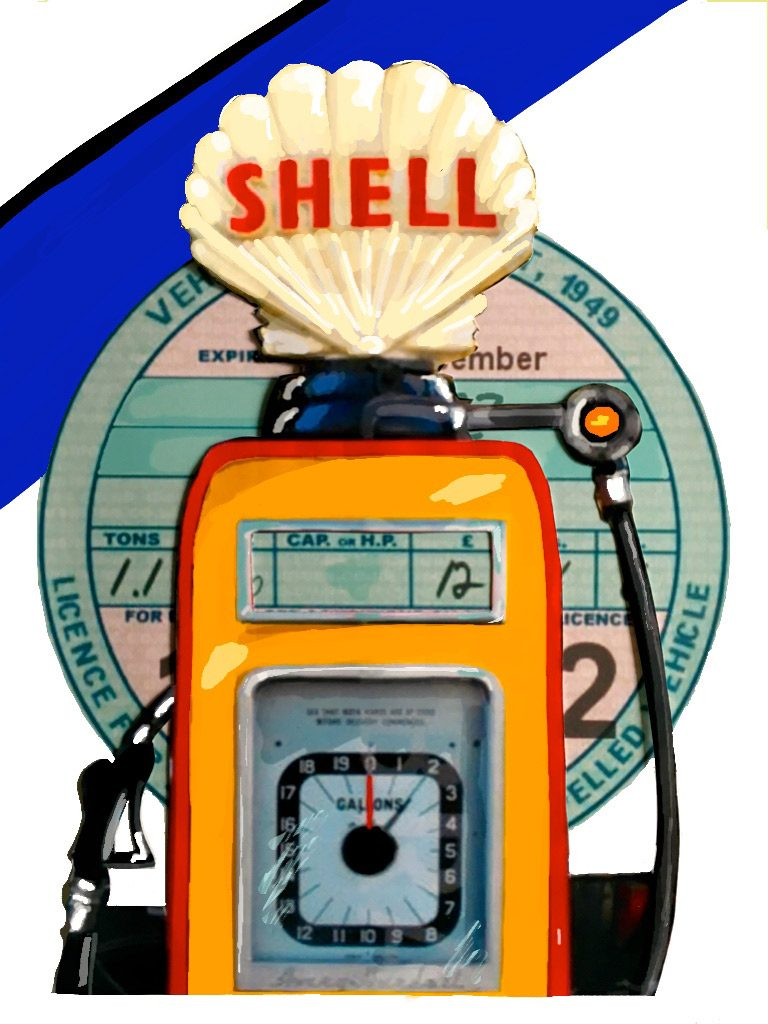 1952: Vehicle tax disc, Shell petrol pump and Hull Corporation transport